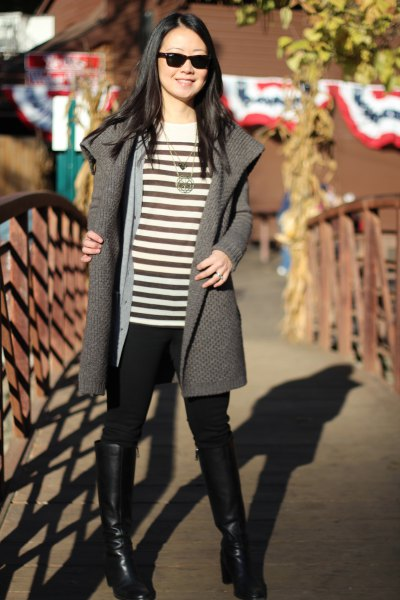 grey sweater jacket with black and whites striped top