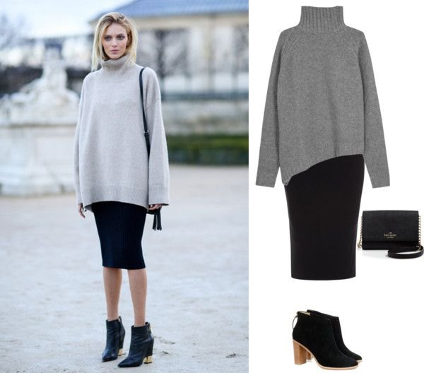 grey turtleneck chunky sweater with black midi bodycon skirt