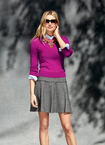 grey wool mini pleated skater skirt with matching form fitting sweater
