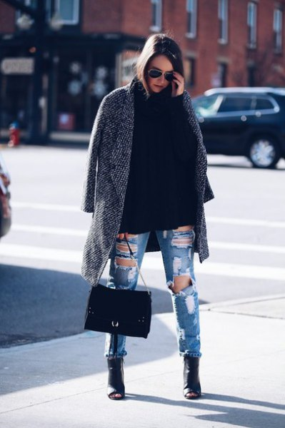 heather grey coat with ripped boyfriend jeans and black leather open toe boots