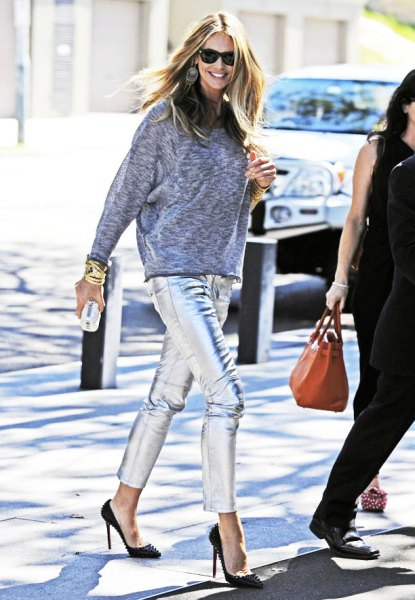 heather grey sweatshirt with silver cropped pants