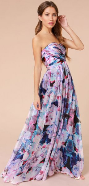 lavender and purple floral printed strapless fit and flare floor length dress