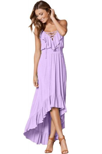 lavender maxi high low ruffle hem dress