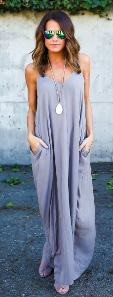 lavender maxi shift dress with silver open toe heels