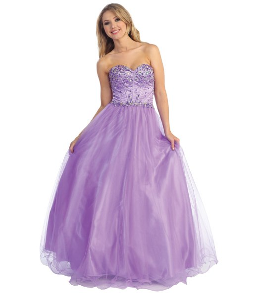lavender sequin and tulle fit and flare floor length prom dress