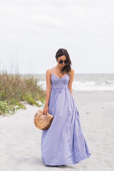 lavender spaghetti strap deep v neck fit and flare striped dress