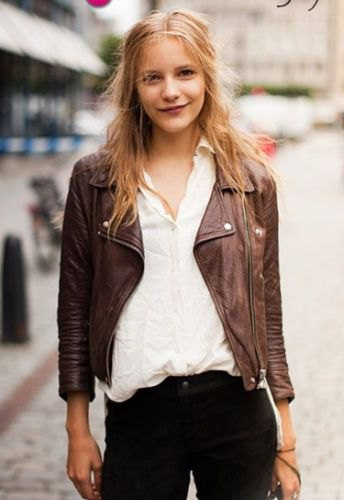 leather jacket with white linen button up shirt and black jeans