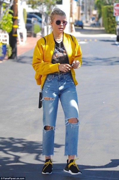 lemon yellow jacket with ripped boyfriend jeans