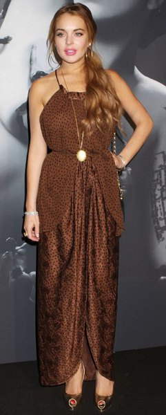 leopard print brown halter maxi dress