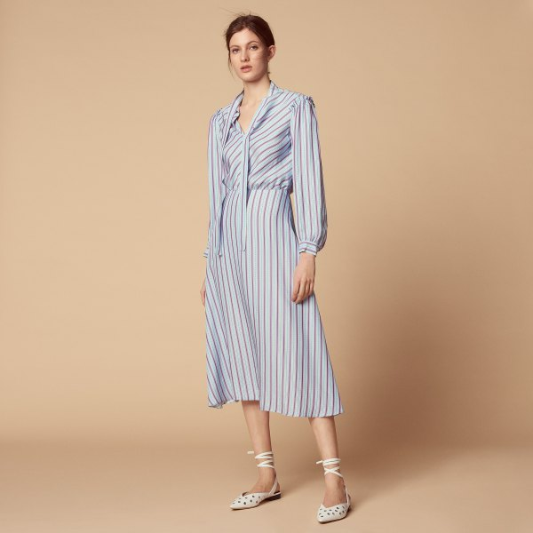 light blue and white striped long sleeve midi flared dress