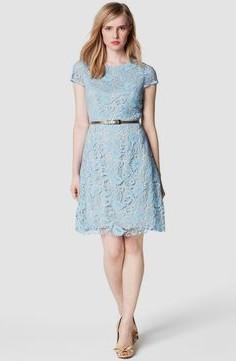 light blue belted knee length lace dress
