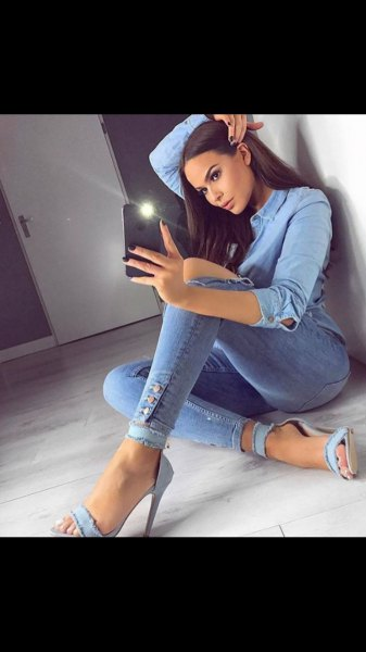 light blue chambray shirt with denim open toe ankle strap heels