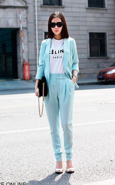 light blue taper leg pants with matching blazer