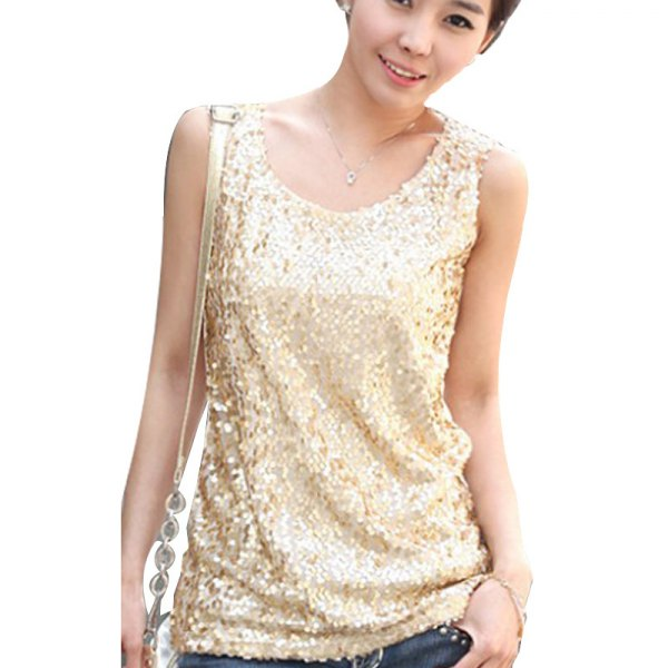 light gold sequin tank top with dark blue jeans