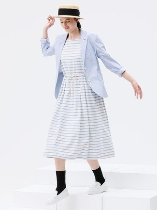 light grey and white striped midi flared dress with baby blue blazer