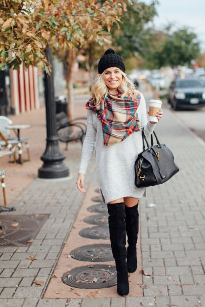 light grey long sleeve dress with red and pale yellow plaid scarf