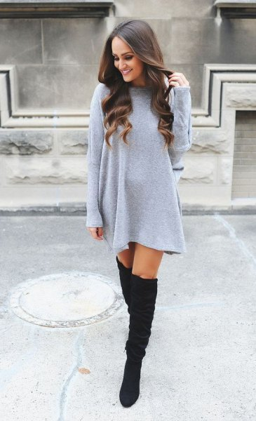 light grey straight cut mini sweater dress with over the knee boots