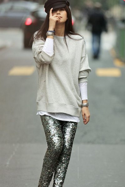 light grey sweatshirt with silver sequin pants