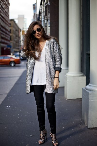 light heather grey sweater jacket with black coated jeans