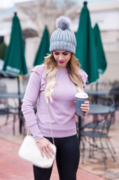 light purple fitted sweater with matching knit hat