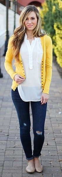 light yellow cardigan with white semi sheer chiffon blouse