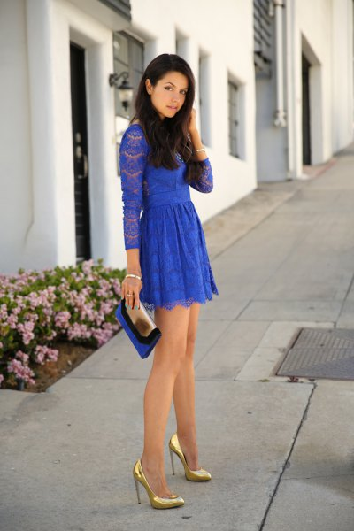long sleeve lace fit and flare mini pleated dress
