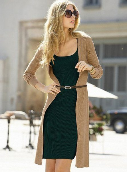 longline crepe cardigan and black shift mini dress