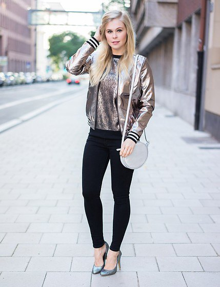 metallic bomber jacket with sequin sweatshirt