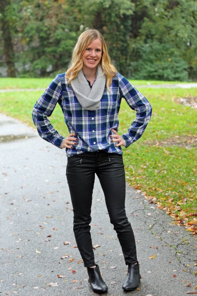 navy and white plaid boyfriend shirt with black jeans and boots