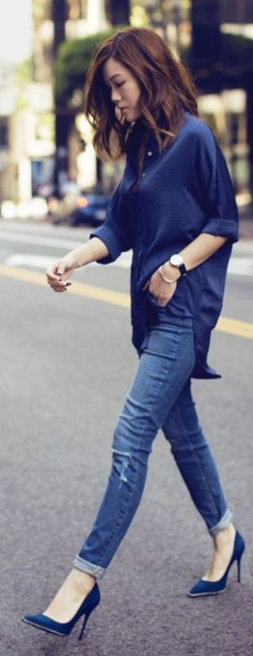 navy blue cuffed relaxed fit top with matching ballet heels