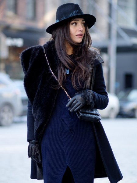 navy blue ribbed sweater dress with faux fur black coat