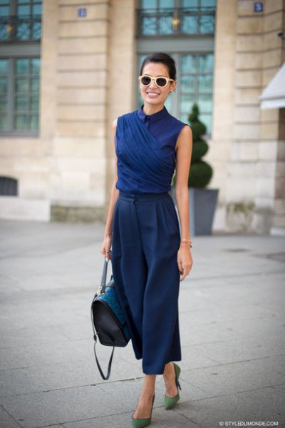 navy blue sleeveless collar shirt with matching wide leg cropped pants
