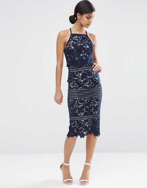 navy halter neck sheath midi dress
