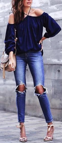 navy off the shoulder blouse with ripped skinny jeans