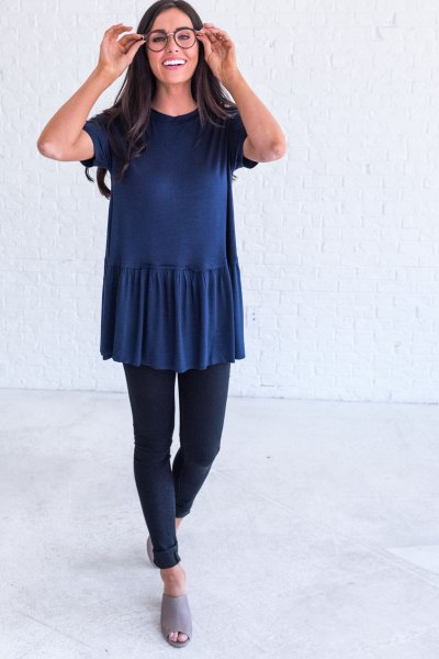 navy peplum top with grey open toe slide sandals