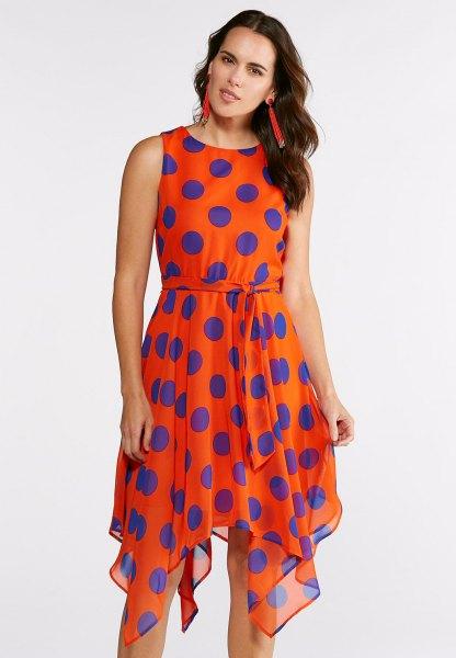 orange and blue polka dot sleeveless knee length chiffon dress