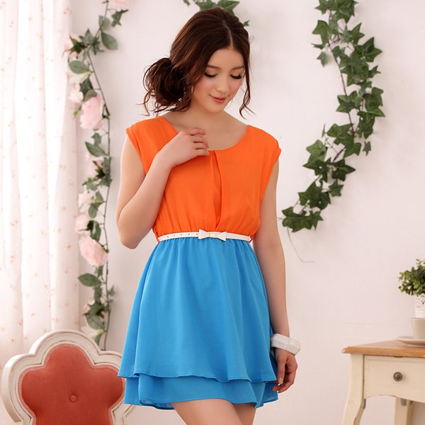 orange and sky blue belted color block mini chiffon dress
