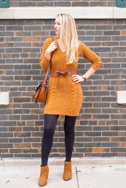 orange suede ankle boots with matching cable knit sweater dress