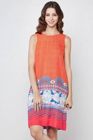 orange tribal printed sleeveless knee length shift dress