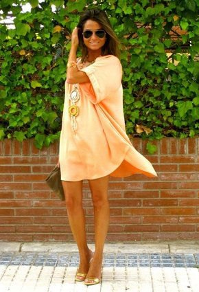 orange wide sleeve mini shift dress with open toe bronze heels