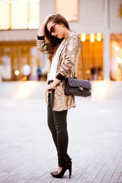 oversized sequin jacket with black skinny jeans