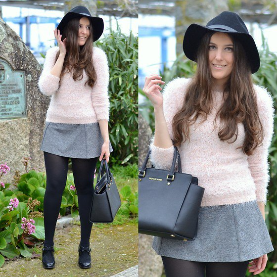 pale pink fuzzy sweater with grey wool mini skirt