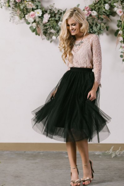 pale pink lace blouse with black tutu midi dress