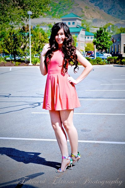 pale pink skater dress with multi colored heels