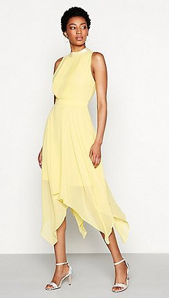 pale yellow mock neck fit and flare midi dress