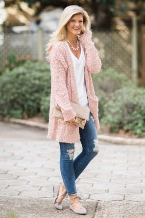 pink longline sweater cardigan with ripped skinny jeans