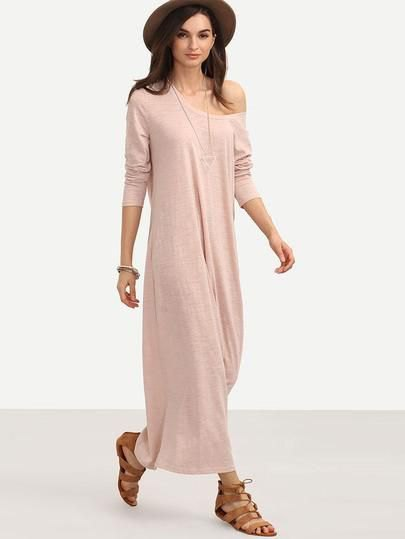 pink one shoulder maxi shift dress with brown felt hat