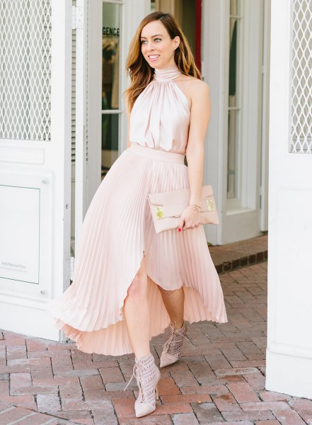 pink silk halter neck top with asymmetric blush maxi pleated skirt