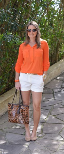 pocket front shirt with white mini chino shorts