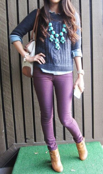 purple cable knit sweater with matching skinny jeans